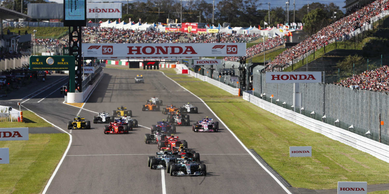 Mercedes driver Lewis Hamilton leads the field at the start during the Japan F1 at Suzuka Circuit