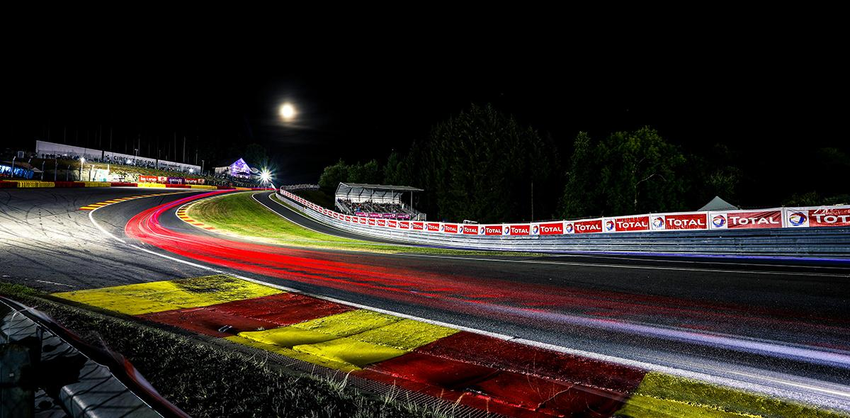 Spa 24 Hour track at night